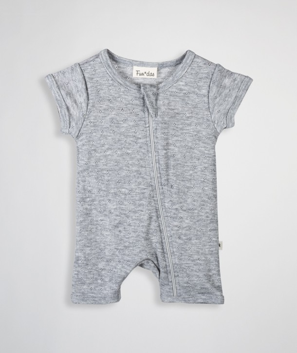 Openwork knit cropped jumpsuit for newborn
