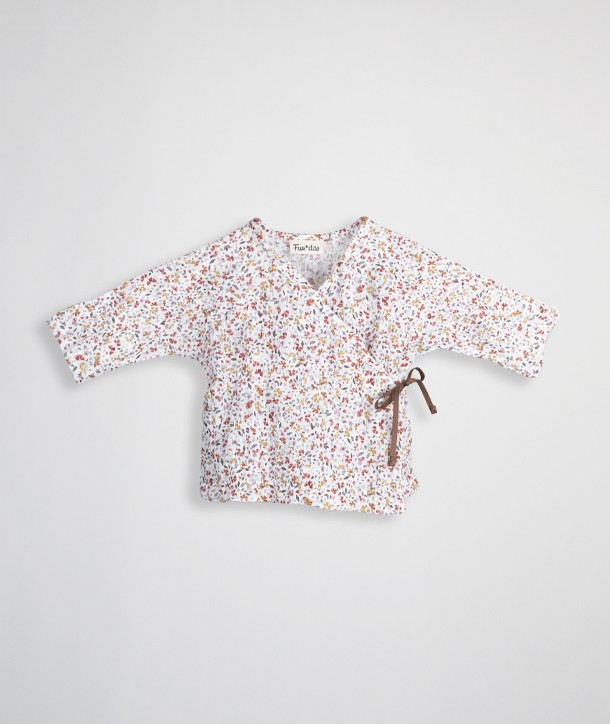 Pleated-effect wrap-over t-shirt for newborns