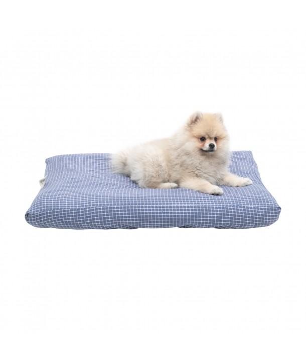 Funda para cama de mascota ( cuadro vichy azul grisaceo y blanco)