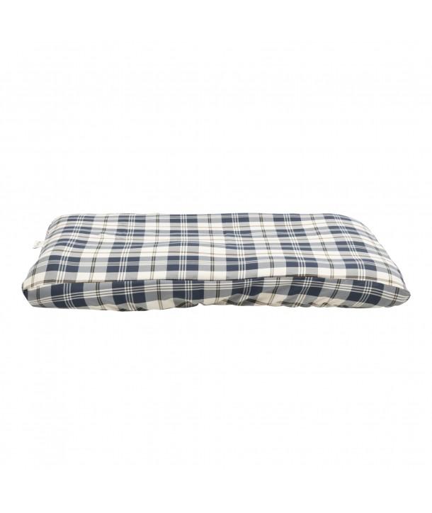 Funda para cama de mascota ( cuadro vichy azul marino y piedra)