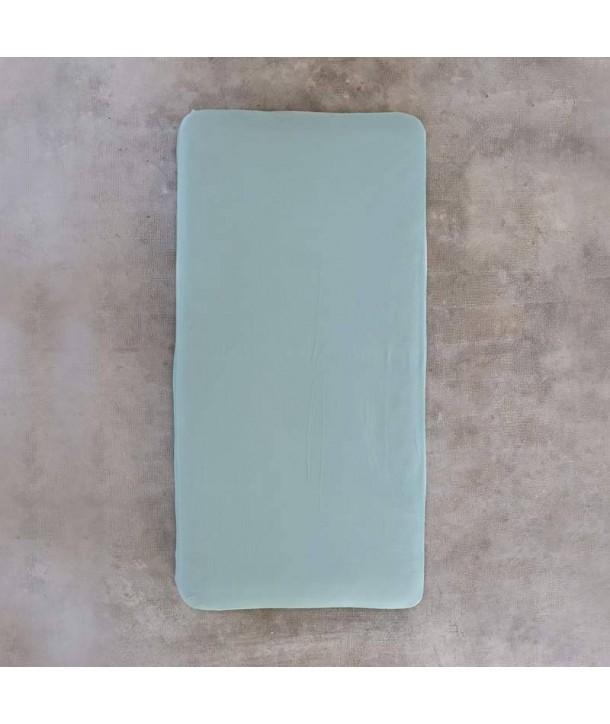 Cotton fitted sheet Blue Linen 90 cm